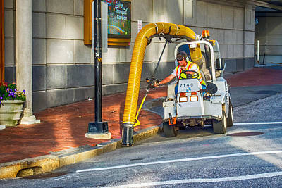 Photograph - Vacuuming The Sidewalk by Guy Whiteley