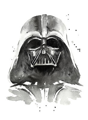 Black And White Art Painting - Darth Vader Watercolor by Olga Shvartsur