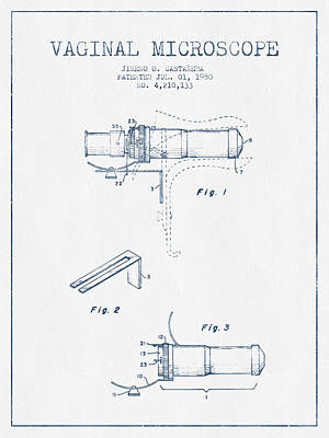Vaginal Microscope Patent From 1980 - Blue Ink Art Print