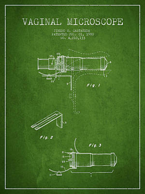 Vaginal Microscope Patent From 1980 - Green Art Print