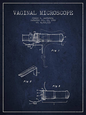 Vaginal Microscope Patent From 1980 - Navy Blue Art Print