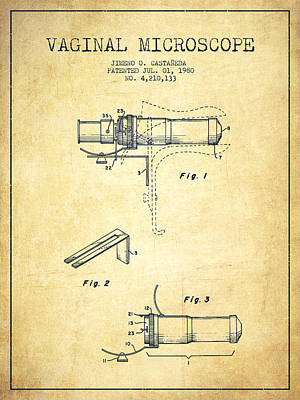 Vaginal Microscope Patent From 1980 - Vintage Art Print