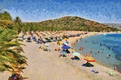 Sunshade Painting - Painting Of Vai Beach by George Atsametakis