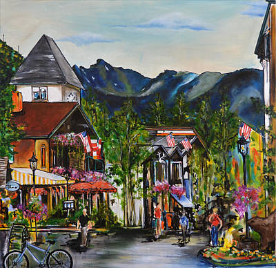Gore Range Painting - Vail Village by Nancy Hilliard Joyce
