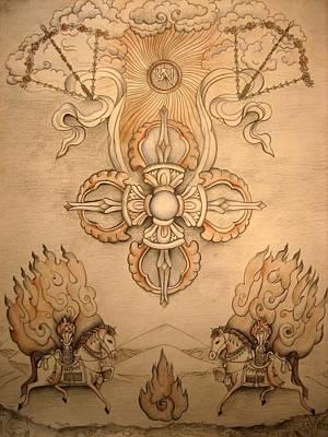 Spiritual Art Painting - Vajra With Wind Horses by Vera Atlantia
