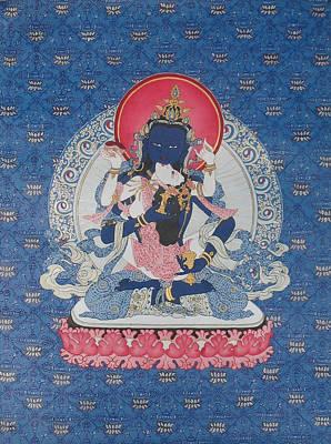 Himalaya Painting - Vajrasattva And Consort by Ariyas Thangkas