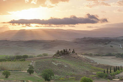 Crepuscular Rays Photograph - Val D'orcia, Tuscany, Italy by Peter Adams