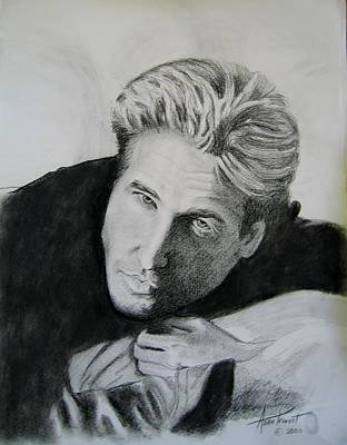 Val Kilmer Wall Art - Drawing - Val Kilmer-charcoal by Anne Provost