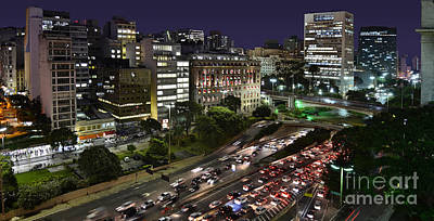 Photograph - Vale Do Anhangabau By Night - Paulistano Downtown Icons by Carlos Alkmin