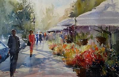 Painting - Valencia Flower Market by Sandra Strohschein