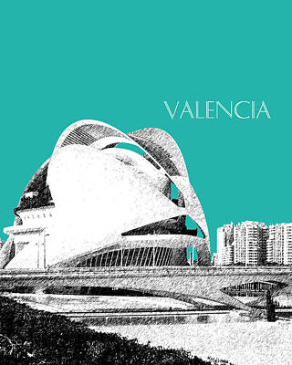 Pen Digital Art - Valencia Skyline City Of Arts And Sciences - Aqua by DB Artist