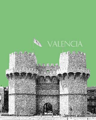 Pen Digital Art - Valencia Skyline Serrano Towers - Apple by DB Artist