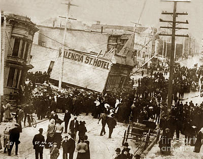 Photograph - Valencia St. Hotel San Francisco Earthquake And Fire Of April 18 1906 by California Views Mr Pat Hathaway Archives