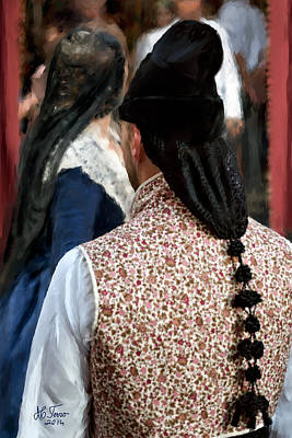 Photograph - Valencian Couple In Traditional Dresses. by Juan Carlos Ferro Duque