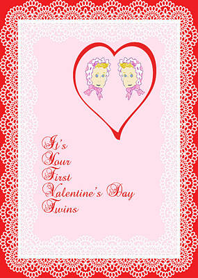 Drawing - Valentine Card For Twin Girls First by Rosalie Scanlon