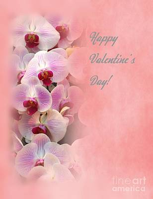 Valentine Day Card With Beautiful Orchids Art Print