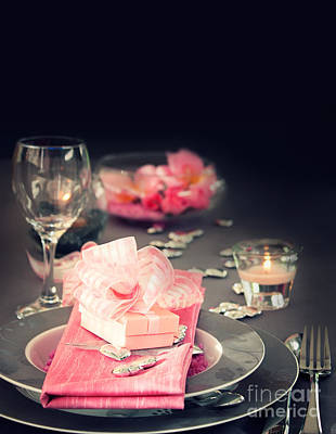 Valentine Day Romantic Table Setting Print by Mythja  Photography