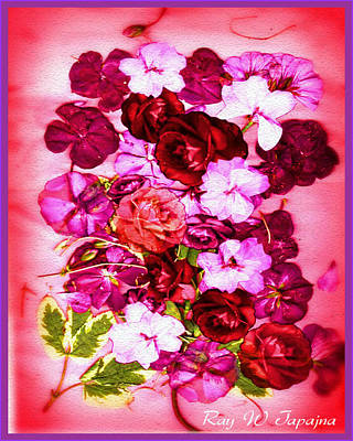 Mixed Media - Valentine Flowers For You by Ray Tapajna