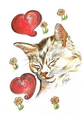 Valentine Cat Art Print