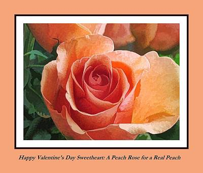 Digital Art - Valentine Peach Rose For A Peach by Doug Morgan