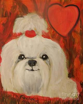 Painting - Valentine Pup by Rachel Carmichael