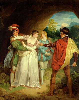 Verona Painting - Valentine Rescuing Silvia From Proteus, From Shakespeares by Litz Collection