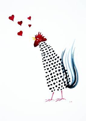 Rosedahl Painting - Valentine Rooster by Sarah Rosedahl