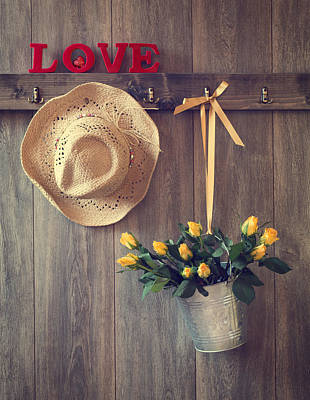Straw Hats Photograph - Valentine Roses by Amanda Elwell