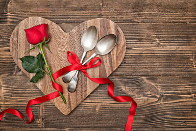 Table Setting Photograph - Valentine Table Setting by Amanda Elwell