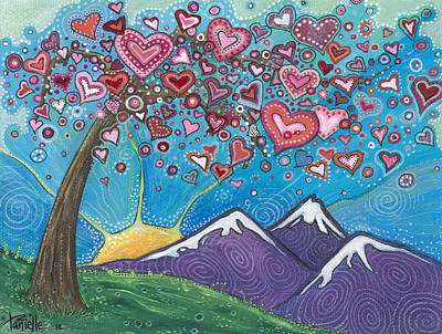 Blue And Red Painting - Valentine Wishes by Tanielle Childers