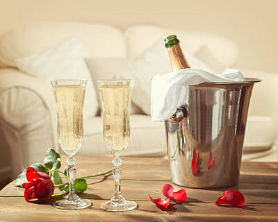 Single Red Rose Photograph - Valentines Day Champagne by Amanda Elwell