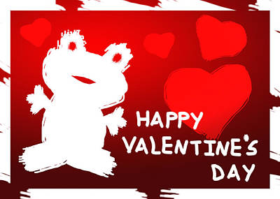 Digital Art - Valentine's Day Frog by Jeanette K