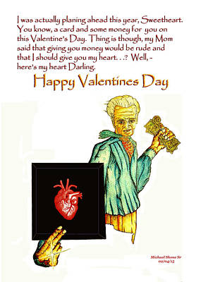 Painting - Valentines Day Heart Card by Michael Shone SR