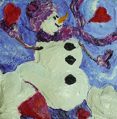 Valentine's Day Hearts Snowman Print by Paris Wyatt Llanso