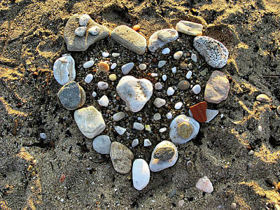 Photograph - Valentine's Day - Stones Heart by Daliana Pacuraru