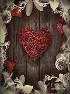 Invitations Mixed Media - Valentines Design - Love Wreath by Mythja  Photography