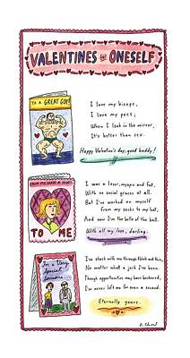 Valentines Day Drawing - Valentines For Oneself by Roz Chast