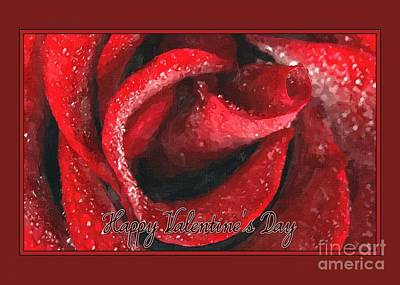 Digital Art - Valentine's Painted Red Rose by JH Designs