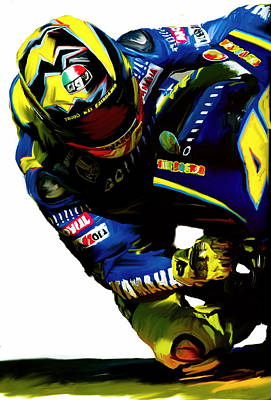 Valentino Rossi  Corner Speed IIi Art Print by Iconic Images Art Gallery David Pucciarelli