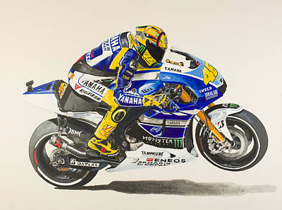 Motogp Painting - Valentino Rossi by John Savage