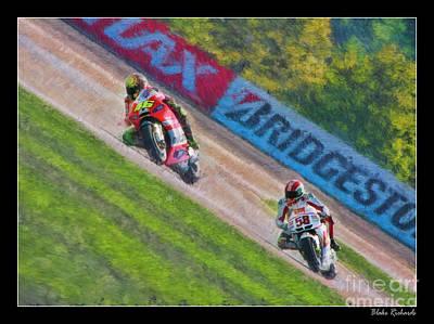 Valentino Rossi Leads Marco Simoncelli Art Print
