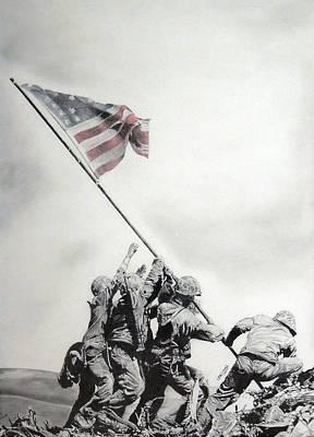 Iwo Jima Drawing - Valiant by Erica Raymond