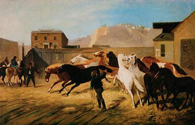 Herd Of Horses Painting - Vallejo Street Wharf by William Hahn