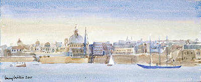 Valletta Painting - Valletta Skyline by Lucy Willis