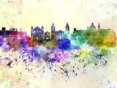 Valletta Digital Art - Valletta Skyline In Watercolor Background by Pablo Romero