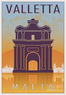 European City Digital Art - Valletta Vintage Poster by Pablo Romero