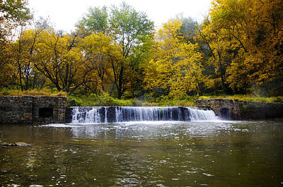 Valley Creek Waterfall In Valley Forge Pa Art Print by Bill Cannon