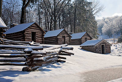 Photograph - Valley Forge Cabins After A Snow by Michael Porchik