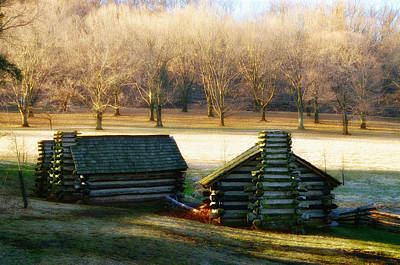 Valley Forge Cabins Art Print by Bill Cannon