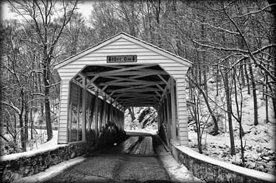 Valley Forge Covered Bridge In Black And White Art Print by Bill Cannon